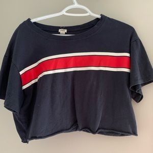 (2for$20) Garage Lg Blue and red striped Crop Top